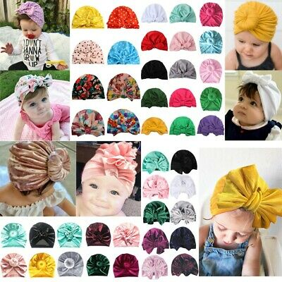 Infant Girls Newborn Baby Turban Knotted Head Wrap Headband India Hat Cap Sweet
