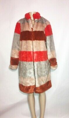 Eva Mendes Multi Color Faux Fur Coat With Hook Closure Size Small