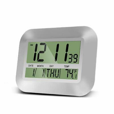 HeQiao Digital Wall Clock Large Desk Alarm Clocks with Temperature (Elegant Silv