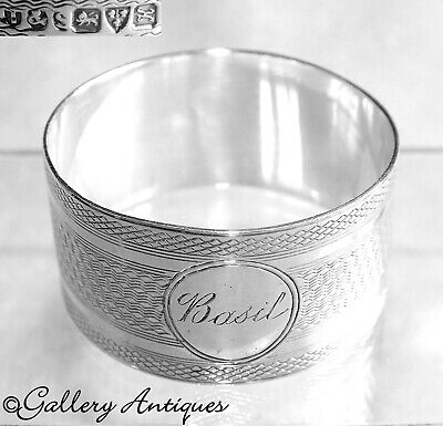 Antique Sterling Silver Engine Turned Napkin Ring Hallmarked Chester 1910