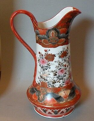 "Shlf JAPANESE ANTIQUE  KUTANI PORCELAIN VERY LARGE 12""H PITCHER, AS IS - MEIJI"