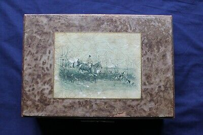 Antique Wooden Box with Decorative Hunting Motif On Top
