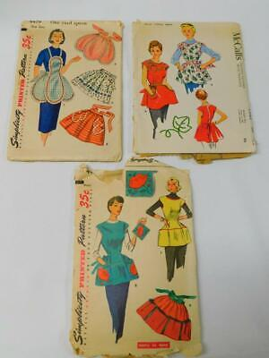 LOT OF 3 Orig Vintage APRON Sewing Patterns Simplicity 4479 4492 McCalls 1953