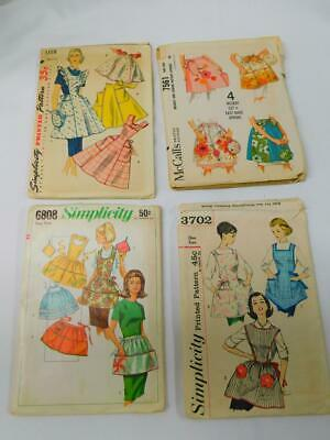 LOT OF 4 Orig Vintage APRON Sewing Patterns Simplicity 3702 1358 McCalls 7561