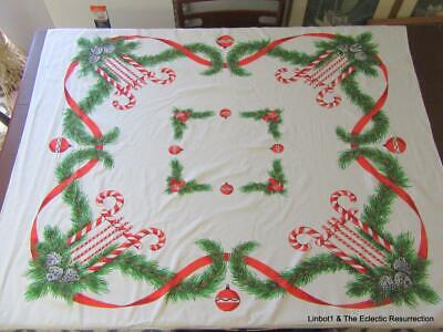 """Vintage Christmas Tablecloth Printed Cotton 50s 44"""" x 52"""" Candy Canes & Garland"""