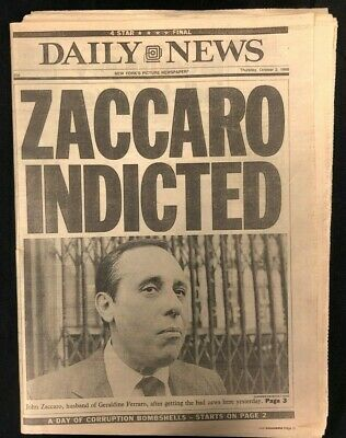 1986 Oct 2 Ny Daily News Newspaper *Zaccaro Indicted/Ferraro's Hubby* Pgs 1-80