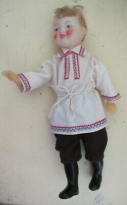 Russian Soviet Boy DOLL Vintage Traditional folk dress Articulated Plastic 12""