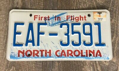 North Carolina License Plate First In Flight EAF-3591 Auto Tag