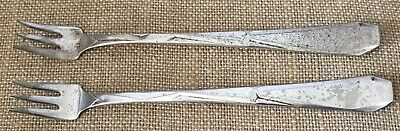 2-Silver Plated Fish Appetizer Forks Modernistic Geometric Epns