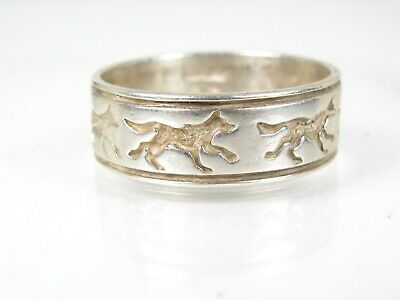 Vintage Sterling Silver Wolf Dog Mens Band Ring 5.5g
