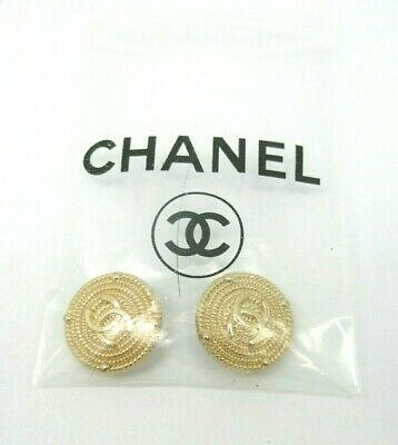 2 - CHANEL BUTTONS 20.21 mm GOLD METAL CC LOGO w/ Package