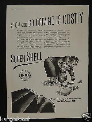 "1937 Super Shell The ""Motor Digestible"" Gasoline Vintage Art Ad"
