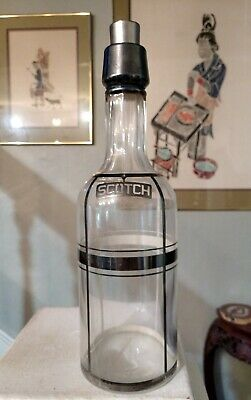 Antique Sterling Silver Overlay SCOTCH Crystal Glass Back Bar Bottle.