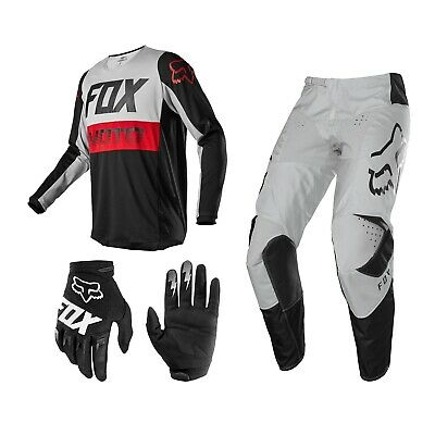 FOX 180 Fyce Combo grau MX Enduro Hose Cross Shirt Motocross Handschuhe