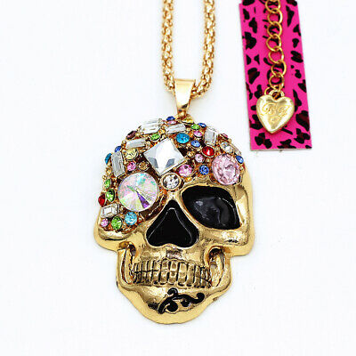 Colorful Crystal Enamel Skull Head Pendant Betsey Johnson Sweater Necklace
