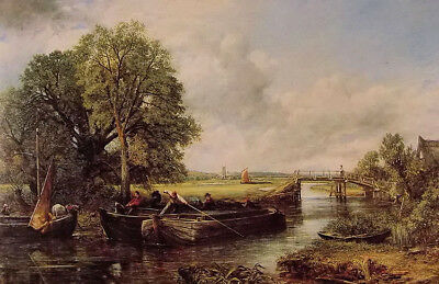 Dream-art Oil painting john constable - a view on the stour near dedham & boats