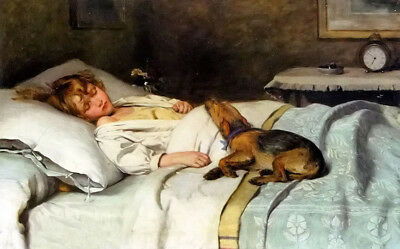 Dream-art Oil painting george elgar hicks - in the land of nod girl with dog pet