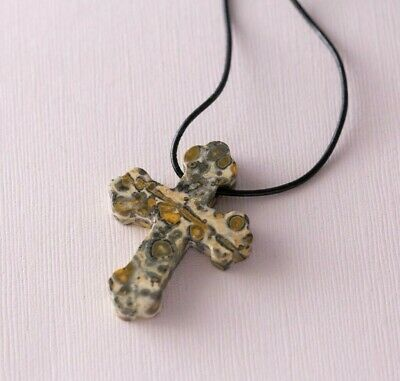 Brown Natural Stone Unisex Byzantine Cross Crucifix Christian Pendant Necklace