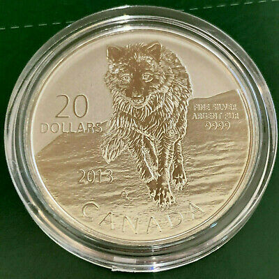 2013  $20 Canadian 1/4 oz. Silver Wolf Coin .9999 Fine Silver Coin RCM  (in OGP)