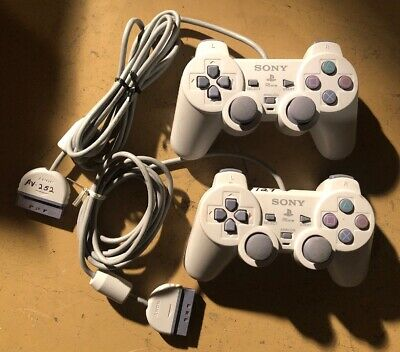 Lot of 2) SONY PLAYSTATION PSONE CONTROLLER ANALOG DUALSHOCK SCPH-110 OEM PS1