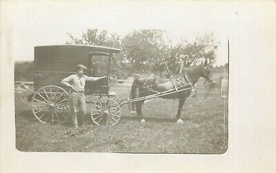 Real Photo Horse Drawn Delivery Wagon RPPC Real Photo Postcard ca 1910