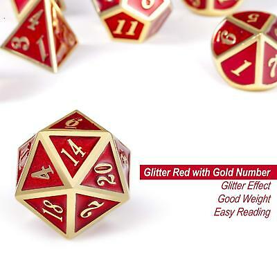 7Pcs Metal Polyhedral Dice Set DND RPG MTG Role Playing Dragons Table Games, RED