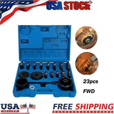 23 pcs Front Wheel Bearing Press Kit Removal Adapter Puller Tool Case Blue#