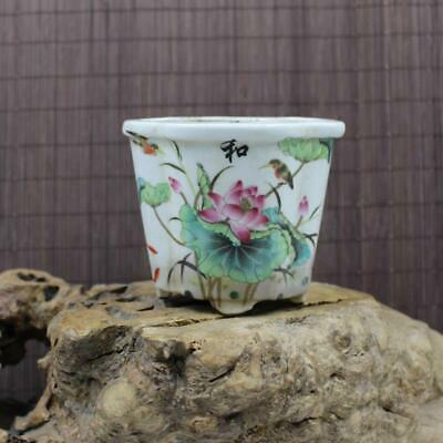Chinese ancient antique hand make Lotus  Flower and bird Flowerpot  24