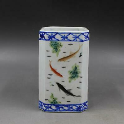 Chinese ancient antique hand make Flower and bird fish patterns Pen container 34