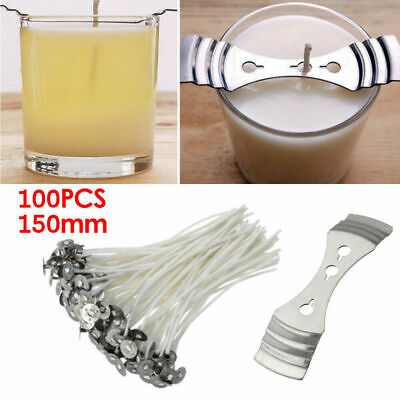 Pack 100 Pre Waxed Candle Wicks for Candle Making With Sustainers - 15cm Long