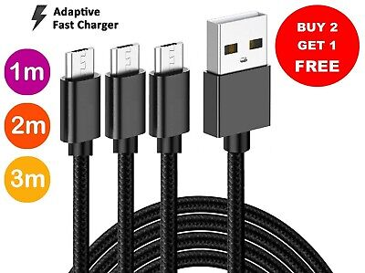 Micro USB Charger Charging Lead Data Long Phone Cable 2M 3M Heavy Duty Braided