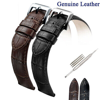 Men Genuine Cowhide Leather Watch Strap Band Pin Buckle 16mm 18mm 20mm 22mm 24mm