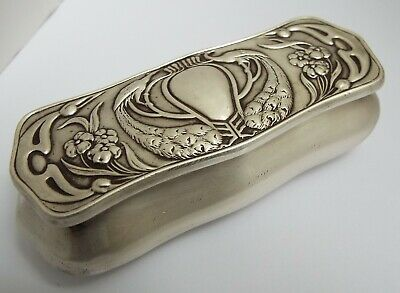 Beautful English Antique Art Nouveau 1901 Solid Sterling Silver & Gilt Table Box
