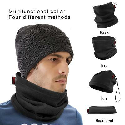 Black Fleece Neck Warmer Thermal Polar Snood Scarf Hat Ski Wear Mens Ladies
