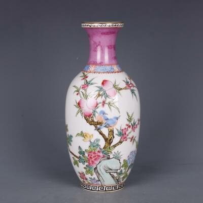 Chinese ancient antique hand make Pastel Flower and bird vase s24
