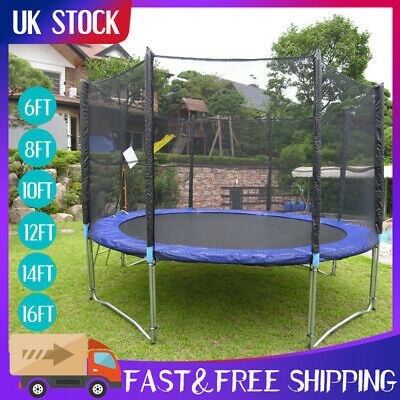 6FT 8FT 10FT 12FT 14FT Trampoline With Enclosure Rain Cover Safety Net Ladder UK