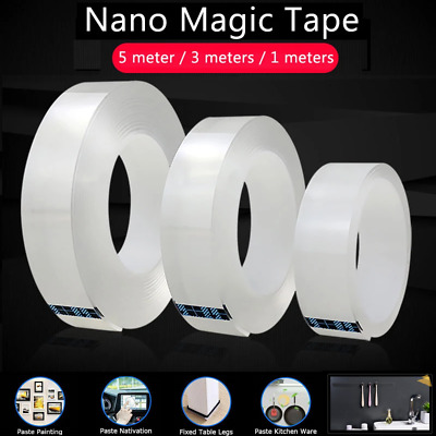 Double-Sided Nano Magic Tape Clear Adhesive Washable Reusable Traceless Fixed