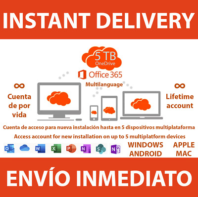 Instant Delivery Office 365 2019 Lifetime Account 5 Devices 5Tb Onedrive Win/Mac