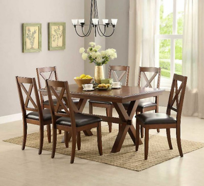 Farmhouse Dining Table Set Modern Rustic 7 Piece 6 Chairs