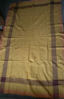 Vintage Tablecloth Linen Print Mid Century Tablecloth Autumn Fall Yellow Large