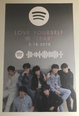 Bts Very Rare Poster Spotify Love Yourself 'Tear' 2018