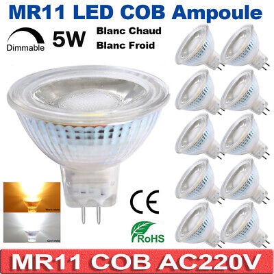 MR11 LED Ampoule AC220V 5W Dimmable Spotlight Light 6000-6500K Blanc Chaud Froid