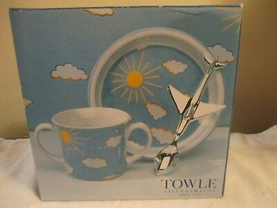 Nib Towle Silversmiths Airplaine Feeding Collection, Child's Dining Feeding Set