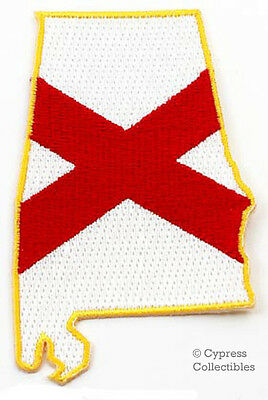 ALABAMA STATE FLAG EMBROIDERED PATCH IRON-ON FLAG new APPLIQUE EMBLEM SHAPE