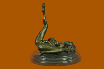 Handmade SIGNED BRONZE SCULPTURE CUBISM NUDE ABSTRACT MODERN STATUE FIGURE DECOR