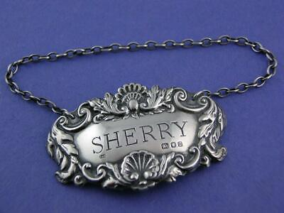 English Sterling Silver Wine Decanter Label SHERRY Richards & Knight LONDON