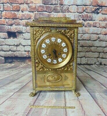Antique French A D Mougin Brass Mantel Mantle Clock Vintage 19th Century TLC