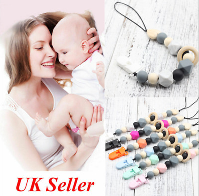 Dummy Clips Pacifier Chain Strap Baby Teething Silicone Beads Soother Chains UK