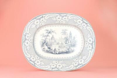 1870 Large Platter Palermo Antique Victorian Brownfield Grey Blue White Transfer