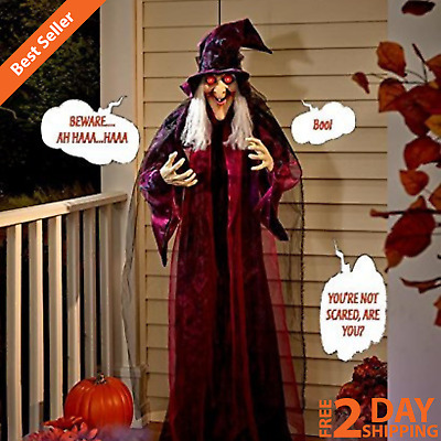 6' Hanging Animated Talking Witch Scary Halloween Haunted House Prop Decoration